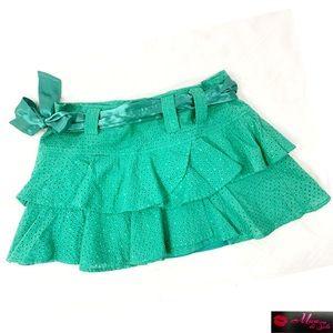 BCBG MAXAZRIA Mini Ruffle Eyelet Skirt BN